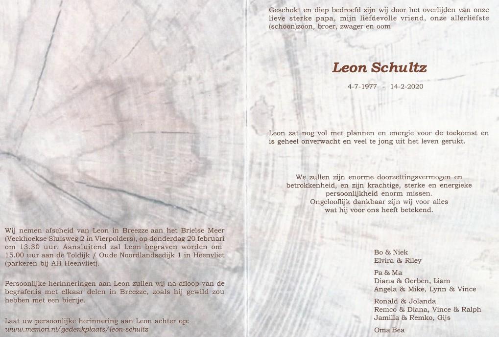 Overlijden Leon Schultz