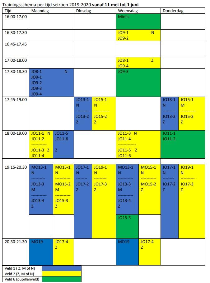 Trainingsschema vanaf 11 mei tot 1 juni bekend