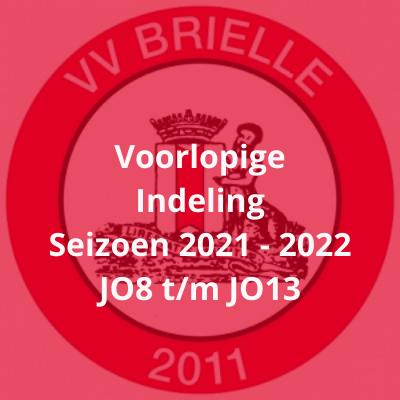 Voorlopige indeling onderbouw seizoen 2021-2022