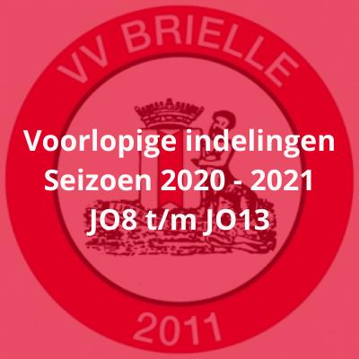 Voorlopige indelingen Seizoen 2020 - 2021 JO8 t/m JO13